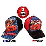 Disney Little Boys Assorted Character Cotton Baseball Cap, 2 Piece Design Set, Age 2-7 (Toddler Boys – Age 2-4 – 51 cm, Cars Design – 2 Piece Set)