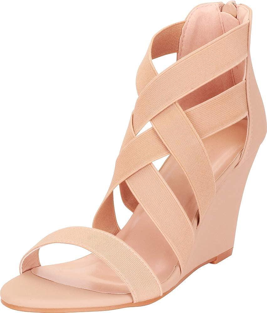 Taupe Cambridge Select Women's Crisscross Strappy Lattice Wedge Sandal