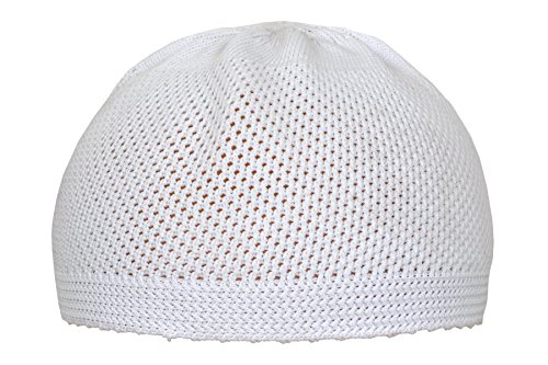 Kufi Skull Cap (Elastic Kufi Hat Skull Cap Beanies Men Muslim White Blended Cotton Cap Islamic Head, Size : 21,22,23 inches (All Sizes Can Wear))
