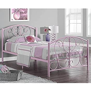 Monarch Specialties Pink Metal Twin Size Bed Frame Only, 37-Inch