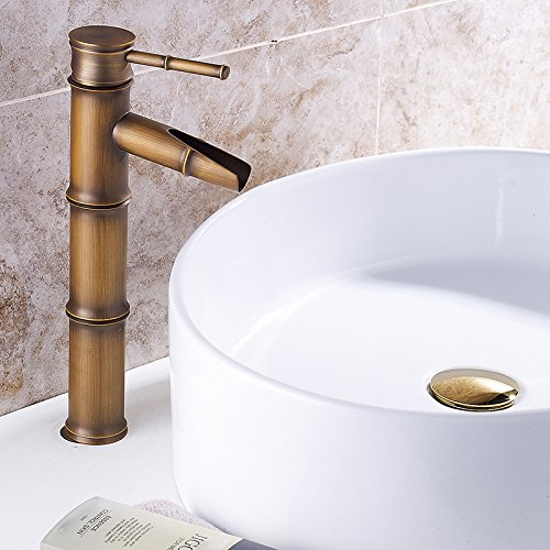 - Commercial Single Lever Pull Down Kitchen Sink Faucet Brass Constructed Polished Copper basin faucet_Bamboo faucet wholesale copper basin faucet European kitchen faucet mixed water basin, antique