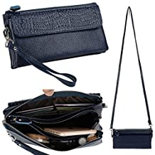 Yaluxe Women's Large Capacity Genuine Leather Smartphone Wristlet Clutch with Shoulder Strap Navy Blue