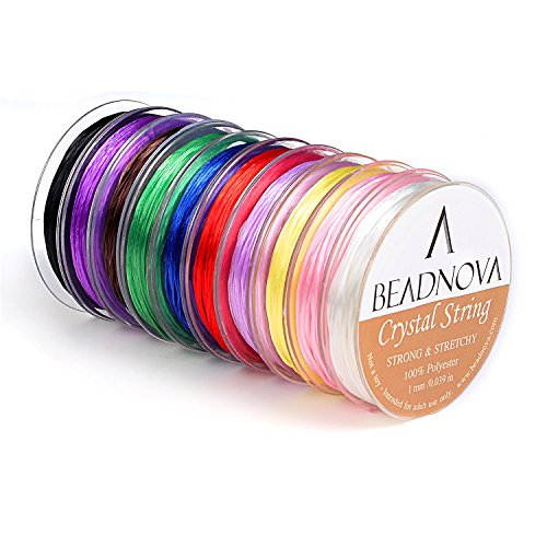 BEADNOVA 1mm Elastic Stretch Polyester Crystal String Cord for Jewelry Making Bracelet Beading Thread (12m/ Roll, Total 10 Rolls Mixed Color) (Mixed Red Glass)