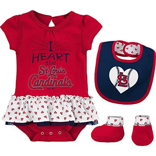 Outerstuff MLB Newborn & Infants Girls Baseball Girl Creeper, Bib, Bootie Set (12 Months, St Louis ()