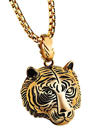 - PAMTIER Men's Stainless Steel Solid Tiger Head Pendant Chain Necklace Gold