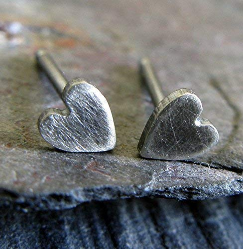 Super tiny heart minimalist stud earrings antiqued sterling silver post jewelry. Handmade in the USA.
