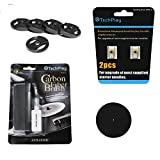 """TechPlay Turntable Essentials, 2pack of diamond tipped upgrade needles, Anti Static Carbon Fiber record cleaner, stylus cleaner, pack of 5 45RPM adaptor and full size 11.5"""" Anti Static turntable mat."""