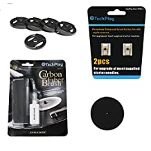 "TechPlay Turntable Essentials, 2pack of diamond tipped upgrade needles, Anti Static Carbon Fiber record cleaner, stylus cleaner, pack of 5 45RPM adaptor and full size 11.5"" Anti Static turntable mat."