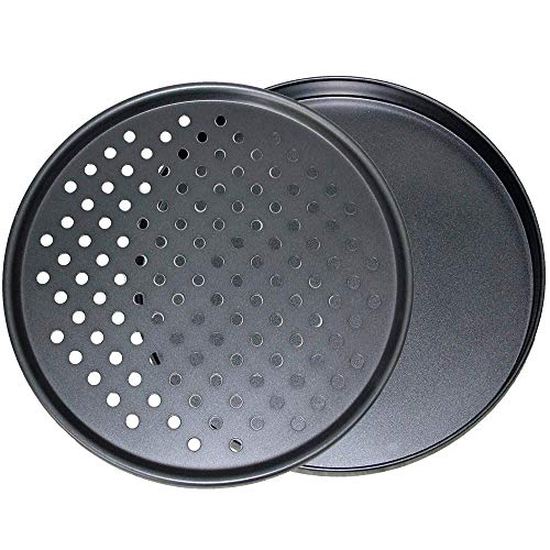 - CHEFHUB Set of 2-Large Black Crispy Pizza Pan 13'' Perfect Results Premium Non-Stick Bakeware 1x Pizza Pan 1x Pizza Crisper Pan, Easy to Clean and Perfect Size for a Get Together, Grilling or Baking