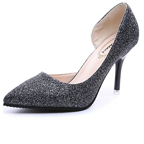 T-JULY High Heel Women Loafers Pointed Toe With Sequins Synthetic Slip On Stylish Shoes Black 7AqOziI