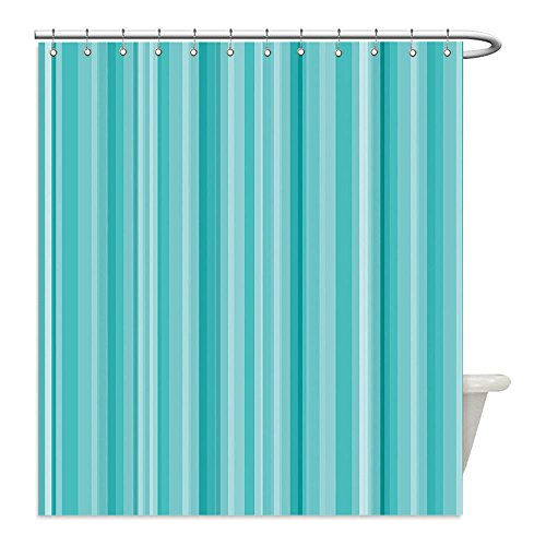 Liguo88 Custom Waterproof Bathroom Shower Curtain Polyester Aqua Abstract Ocean Inspired Palette Lines Geometrical Image White Seafoam Light Blue and Turquoise Decorative - White In Galleria Plains