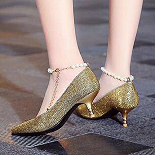 Easemax Femmes Élégant Glitter Cheville Boucle Sangle Perles Chaînes Mid Chaton Talon Pompes Chaussures Or