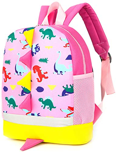 Children Kid Backpack Little Girl Preschool with Leash Pink Dinosaur Zoo Strap]()