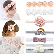 DANMY Baby Girl Super Stretchy Headband Big Lace Petals Flower Baby Hair Band Newborn Hair Accessories (Flower (8pcs))