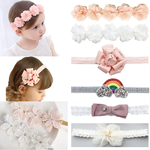 DANMY Baby Girl Super Stretchy Headband Big Lace Petals Flower Baby Hair Band Newborn Hair Accessories Flower 8pcs
