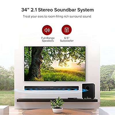 Soundbar, TaoTronics 2.1 Channel Sound Bar with Subwoofer Wired & Wireless Bluetooth Audio Speakers (120W, 34 Inch, Deep Bass, Included Optical Cable)