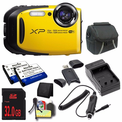 Fujifilm FinePix XP80 16.4 MP CMOS WiFi WaterProof Digital Camera (Yellow) + EN-EL10 Replacement Lithium Ion Battery + External Rapid Charger + 32GB SDHC Class 10 Memory Card + Carrying Case + SDHC Card USB Reader + Memory Card Wallet + Deluxe Starter Kit DavisMAX Bundle