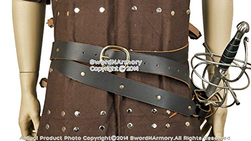 Deluxe Adult Costumes - Pirate double wrap genuine black leather belt sword frog set