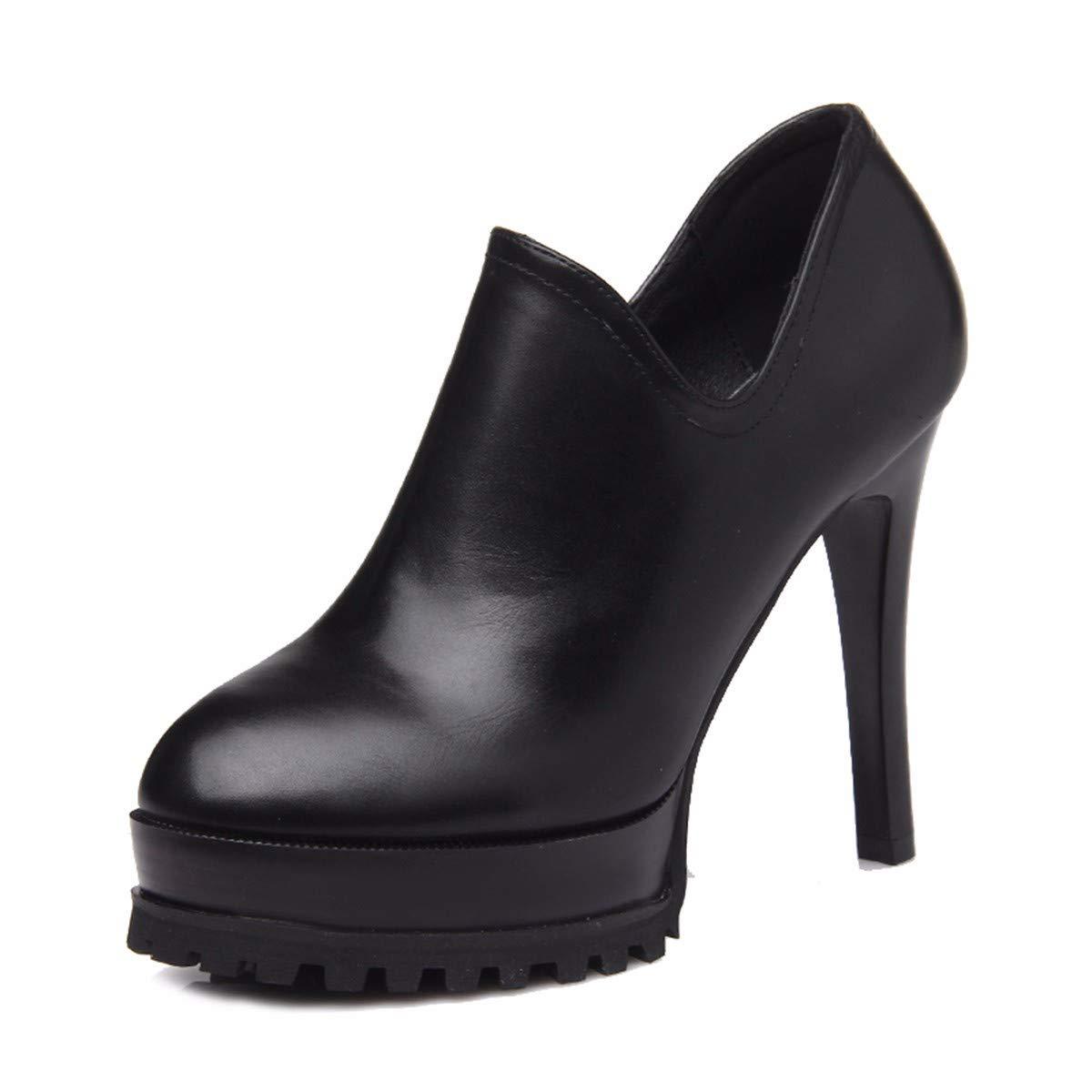 KPHY Damenschuhe Sexy High Heel Heel Heel 12Cm Tiefe Single Schuh Im Frühjahr und Herbst Schön Wasserdicht Plattform Mode Rom Damenschuhe.36 Schwarz 3a0871
