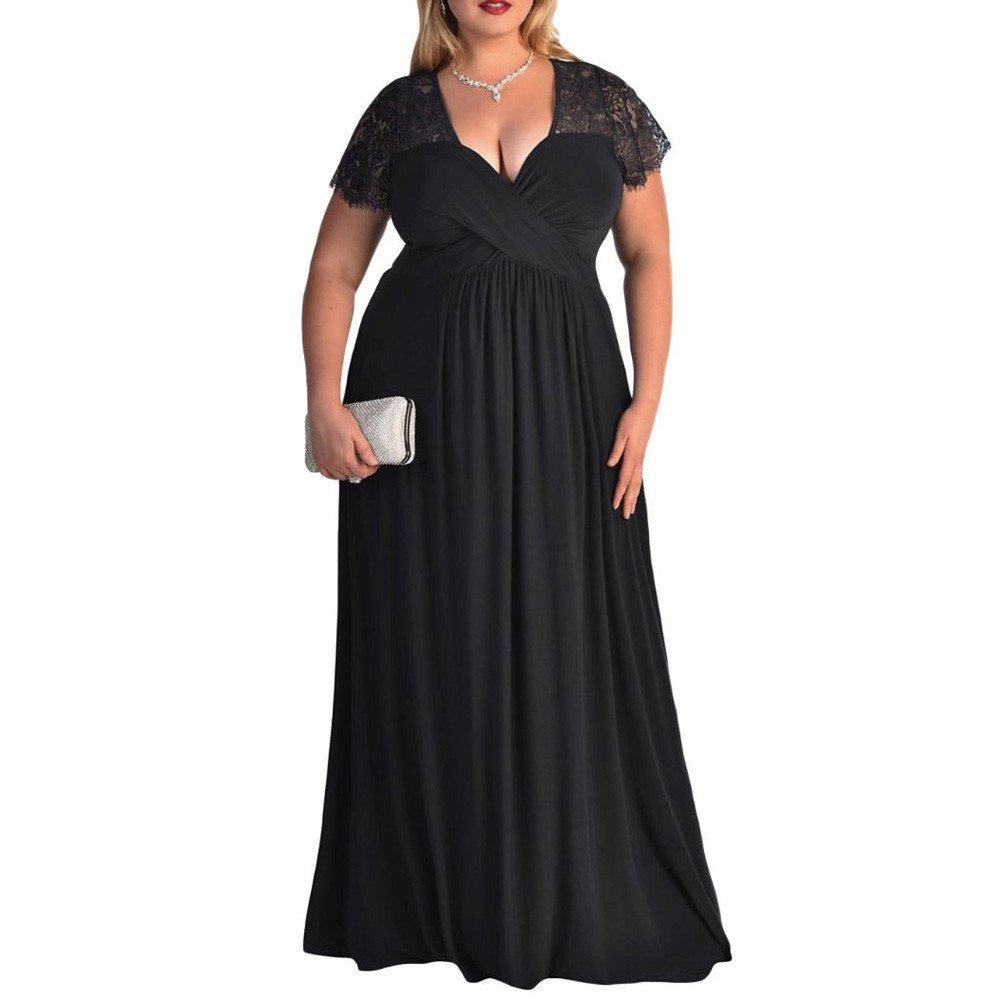 iLUGU Casul Maxi Dress for Women Lace Short Sleeve V-Neck Solid Color Plus Size High Waist Evening Cocktail Gown Long Black