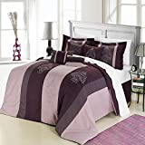 Chic Home 8-Piece Vicky Embroidered Comforter Set, Queen, Plum