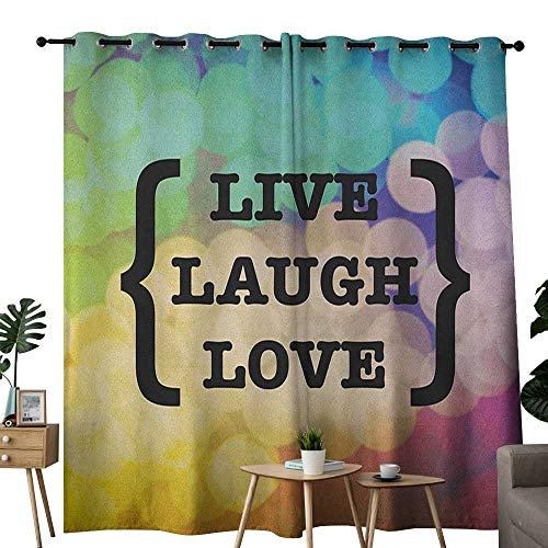 NUOMANAN Customized Curtains Live Laugh Love,Inspiring Wise Phrase in Parenthesis Colorful Out of Focus Dots Retro Style, Multicolor,Blackout Thermal Insulated,Grommet Curtain Panel Set of 2 84