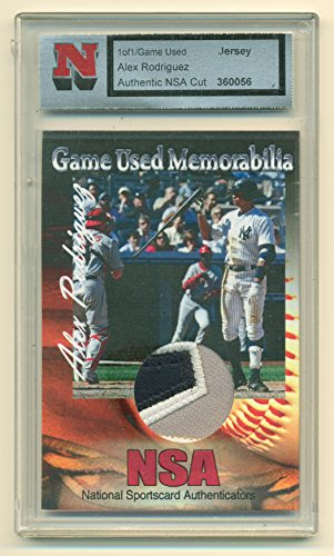 Alex Rodriguez Game Used Jersey Cut 1 of 1 Card by NSA with COA New York Yankees Alex Rodriguez Game Jersey