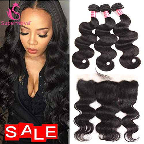 (SuperNova Brazilian Body Wave Virgin Hair Weave 3 Bundles with 13x4 Ear to Ear Full Lace Frontal Closure Unprocessed Human Hair Extensions Natural Color(18 20 22+14inch) )