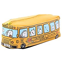 Kids Cartoon Pencil Case, Large Canvas Bus Stationery Pouch, Pen Organizer Bag for Students Child Rewards Gifts - Yellow