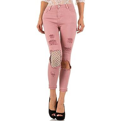 c65a03254e44 Schuhcity24 Damen Jeans Hose Jeanshose Damenjeans Destroyed Netz Skinny  Röhre Röhrenjeans Bluejeans Rosa XS 34