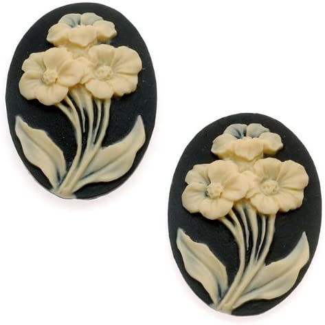 Vintage Style Lucite Cameo - Black With 3 Ivory Flowers 25x18mm