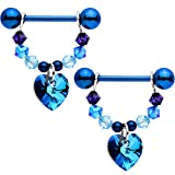 Body Candy Handcrafted Blue Heart Dangle Nipple Ring Set of 2 Created with Swarovski Crystals