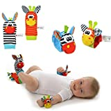 iDream 4pcs (2pcs wrists & 2pcs socks) Soft Wrist Rattles and Sock Rattles Hand Bells Hand Foot Finders Socks for Infant Newborn (Zebra)