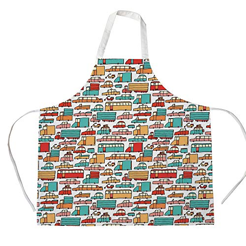 Cotton Linen Apron,Two Side Pocket,Cars,Children Drawing of Many Vehicles Motorbikes Caravans Trucks Taxis Buses Print Decorative,Aqua Red Orange,for Cooking Baking Gardening