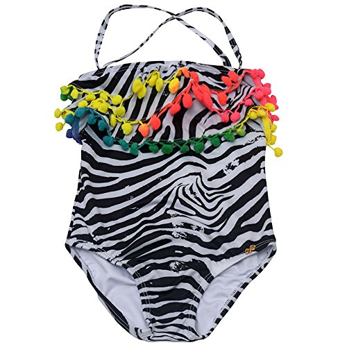Pily Q Little Girls Black White African Rays Zebra Pom Pom One Pc Swimsuit 6