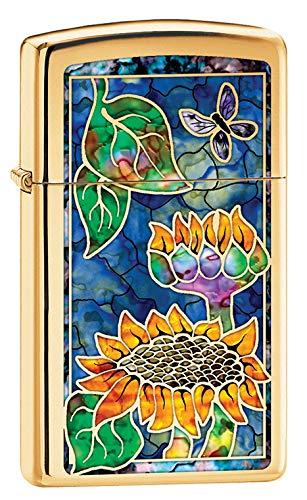 Zippo Lighter: Slim Fusion Sunflowers - High Polish Brass 79785 ()