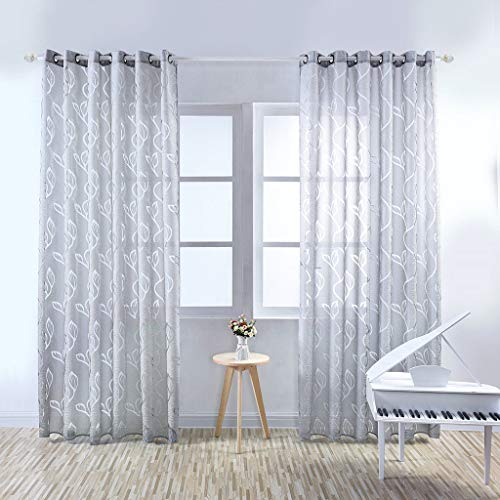 Yucode Flower Textured Curtain for Bedroom Grommet Window Curtain Window Draperies 2x63-inch,1 Panel 39x78-inch,1 Panel