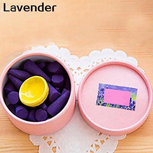 Geshiintel 1 Box Fragrance Aroma Natural Essential Oil Air Freshener Backflow Incense Cones - Lavender