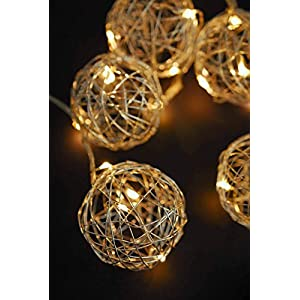 Dexon Power Silver Wire Ball Battery Op. LED String Lights 9ft - 10ct 80