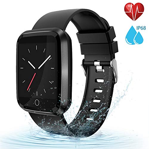 - moreFit Fitness Tracker Smart Watch, IP68 Waterproof Fitness Watch Activity Tracker with Heart Rate Monitor, Wearable Smart Bracelet Sleep Monitor Step Counter Pedometer Watch for Men Women Kids,Black