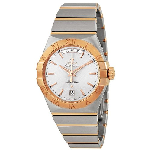 Omega Constellation Chronometer Silver Dial Rose-Gold and Steel Mens Watch 12320382202001 - Chronometer Silver Watch