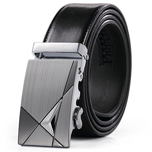 Teemzone Men's Automatic Ratchet Belt Genuine Leather Business Casual Style Slide Belt (Black 115cm) (Business Belt)