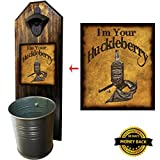 """I'm Your Huckleberry"" Bottle Opener and Cap Catcher – Handcrafted by a Vet – 100% Solid Pine 3/4″ Thick – Rustic Cast Iron Bottle Opener and Sturdy Mini Galvanized Bucket Review"