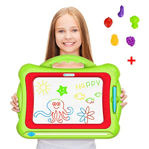 Magnetic Drawing Board, Geekper Green Erasable Colorful Magna Doodle Drawing Board Toys for Kids Writing Sketching Pad, with 5 Shape Stamps