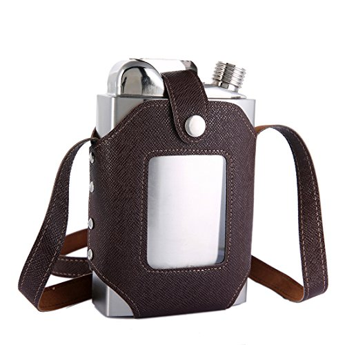 TOX TANEAXON 26 oz Large Capacity Whiskey Flasks for Liquor with Removable Transparent Holster - Stainless Steel and Leak Proof