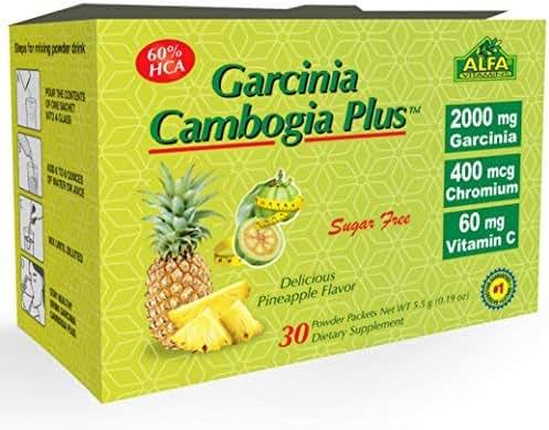 BEST Garcinia Cambogia 2000mg per Serving - 60%HCA PLUS Chromium 400mcg - Powder Supplement By ALFA VITAMINS - Premium Quality Source of WEIGHT LOSS,VitaminC 100%DV -PURE NATURAL FAT BURNER-30 Sachets