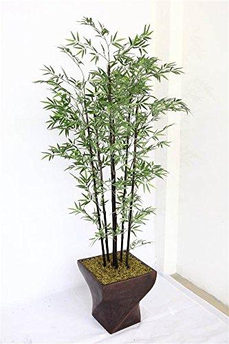 Tabletop Bamboo Silk Tree - Laura Ashley 82 Inch Tall Black Bamboo Tree in 17 Inch Fiberstone Planter