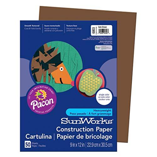 SunWorks PAC6803BN Construction Paper, Dark Brown, 9
