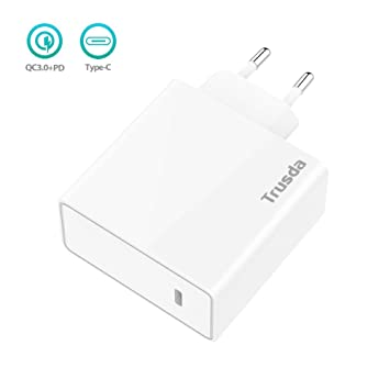 Cargador USB con Quick Charge 3.0 Carga Rápida y USB C PD (Power Delivery) 45W Adaptador de Corriente de Carga Rápida para iPhone XS ...