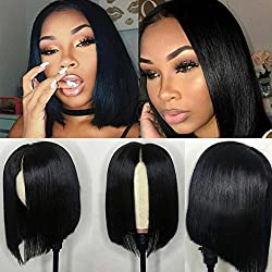 Full Lace Wigs Bob Glueless Short Silky Straight Brazilian Human Hair Lace Front Wigs with Baby Hair for Women Middle Part (12 inch with 130% density, Natural Color Lace Front Wig)